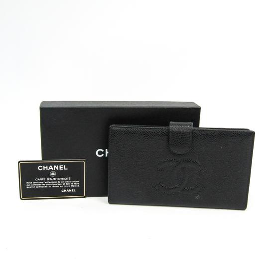 Chanel Chanel Caviar Leather Long Wallet (bi-fold) Black Image 12