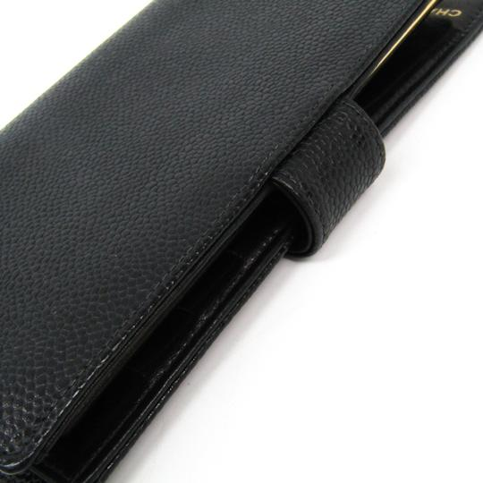 Chanel Chanel Caviar Leather Long Wallet (bi-fold) Black Image 6