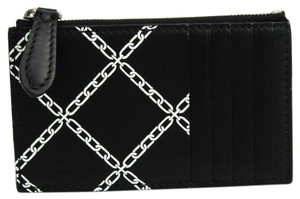 Burberry Burberry Link-print Unisex Leather Coin Purse/coin Case Black,White