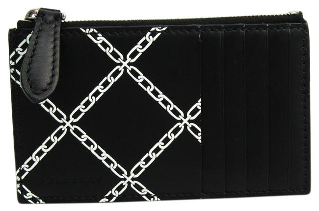 Item - Black / White Link-print Unisex Leather Coin Purse/Coin Case Wallet