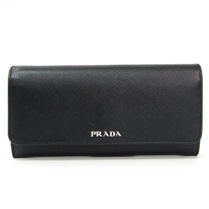 Prada Prada Saffiano 1MH006 Women's Leather Long Wallet (bi-fold) Black,Red