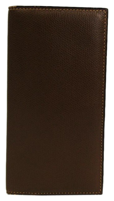 Item - Brown Vertical 12 Card V8l21 Men's Leather Long Bill (Bi-fold) Wallet