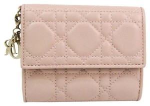 Dior Christian Dior Canage/Lady Dior Women's Lambskin Wallet (tri-fold) Pink