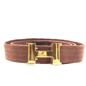 Hermès 24Mm Gold Constance H Belt vintage canvas adjustable belt