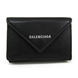 Balenciaga Balenciaga Paper Mini Wallet 391446 Women's Leather Wallet (tri-fold) Black