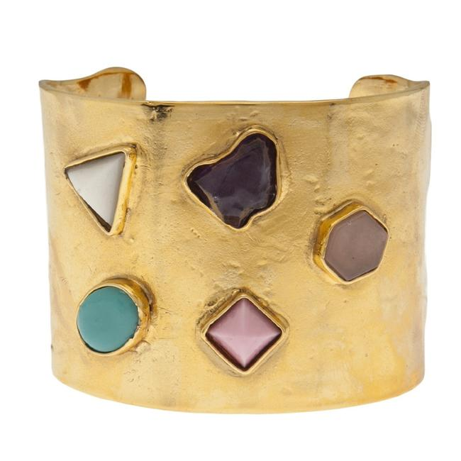 Item - Gold Plated Viracocha Gemstone Cuff Bracelet