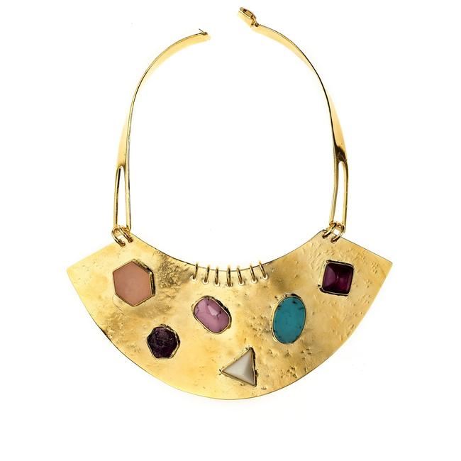 Item - Gold Plated Viracocha Gemstone Bib Necklace