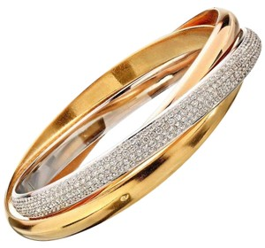 "Cartier Trinity de Cartier ""One"" Diamonds White, Yellow and Rose Gold Bangle"