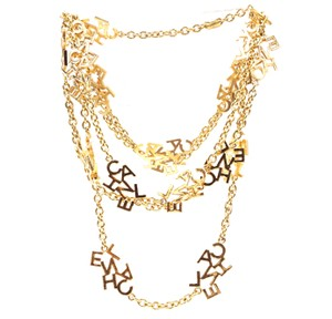 Chanel Ultra RARE CC Logo spelled out charms long chain necklace