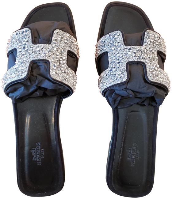 Item - Black Oran with Crystals Leather Sandals Size EU 40 (Approx. US 10) Regular (M, B)