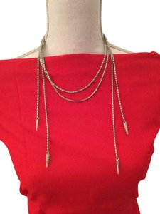 Neiman Marcus SILVER BRAIDED DOUBLE STRAND WITH DOUBLE LOOSE PAVE TAILS ON EACH SIDE