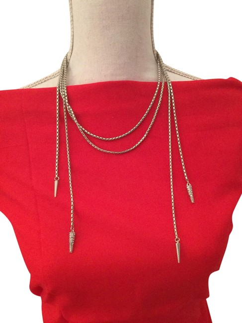 Item - Silver Braided Double Strand with Double Loose Pave Tails On Each Side Necklace