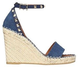 Valentino Studded Pointed Toe Leather Ankle Strap Stiletto blue Wedges
