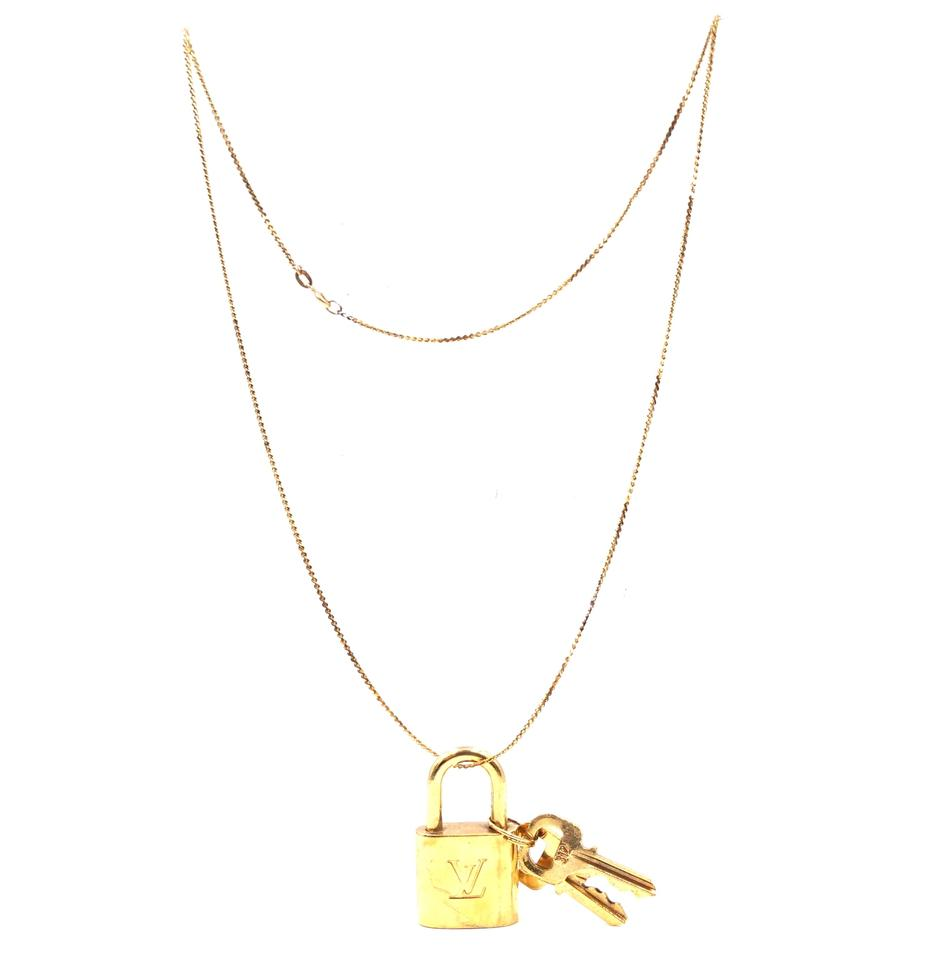 Louis Vuitton 31499 14k Gold Chain Tone Brass Lock And
