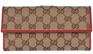 Gucci New Gucci Women's 231841 Beige Red GG Guccissima Continental Wallet