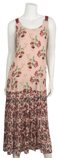 Item - Red Pink Floral Long Casual Maxi Dress Size 4 (S)