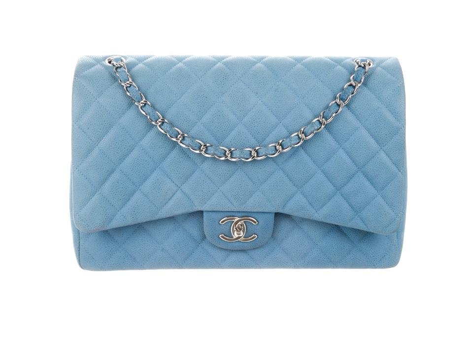a few days away competitive price best cheap Chanel Classic Flap Sky Caviar Light Blue Leather Shoulder Bag ...