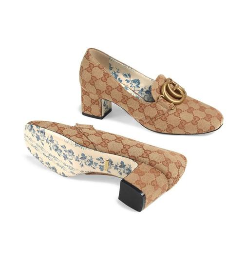Gucci Loafers Print Brown Red Chanel Beige GG Monogram Pumps Image 1