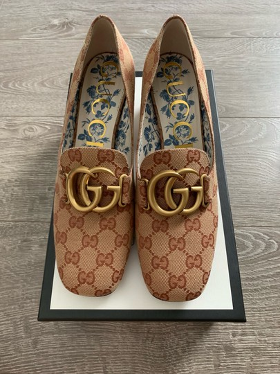 Gucci Loafers Print Brown Red Chanel Beige GG Monogram Pumps Image 4