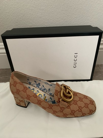 Gucci Loafers Print Brown Red Chanel Beige GG Monogram Pumps Image 5