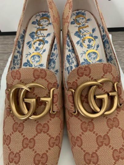 Gucci Loafers Print Brown Red Chanel Beige GG Monogram Pumps Image 7
