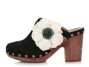 Chanel Ch.q0606.19 Wood Floral Reduced Price Black Mules