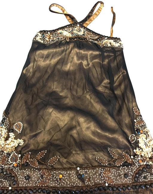 Item - Gold Brown Floral Beaded Embroidered Halter Strap Silk Cocktail Dress Size 2 (XS)
