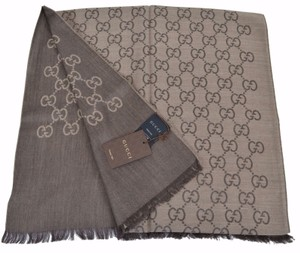 Gucci New Gucci Women's 165904 Brown Wool Silk GG Guccissima Logo Scarf