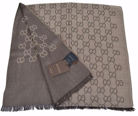 Gucci New Gucci Women's 165904 Brown Wool Silk GG Guccissima Logo Scarf Image 0