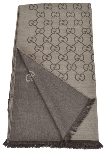 Gucci New Gucci Women's 165904 Brown Wool Silk GG Guccissima Logo Scarf Image 2