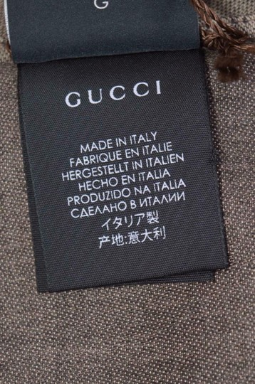 Gucci New Gucci Women's 165904 Brown Wool Silk GG Guccissima Logo Scarf Image 4