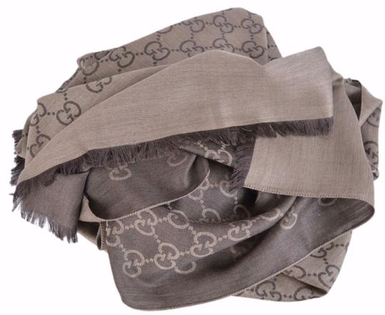 Gucci New Gucci Women's 165904 Brown Wool Silk GG Guccissima Logo Scarf Image 5