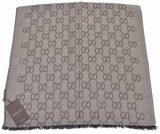 Gucci New Gucci Women's 165904 Brown Wool Silk GG Guccissima Logo Scarf Image 7