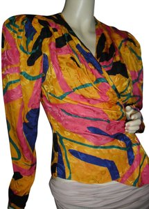FLORA KUNG Blue Silk Pink Silk Green Print Broad Shoulders Tapered Slim Waist Top gold,indigo,fuschia,emerald