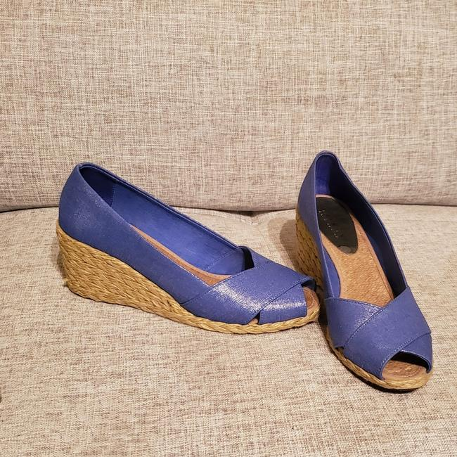 Item - Regatta Blue Metallic Cecilia Wedges Size US 8.5 Regular (M, B)