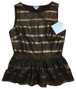 CeCe by Cynthia Steffe Top Black and Gold