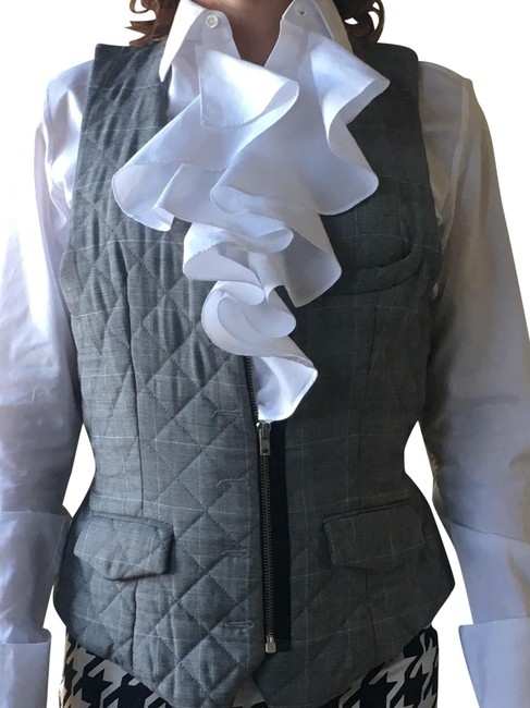 Item - Black and White Houndstooth Vest Size 4 (S)