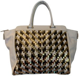 MILLY Leather Woven Metallic Tote in black, white and gold