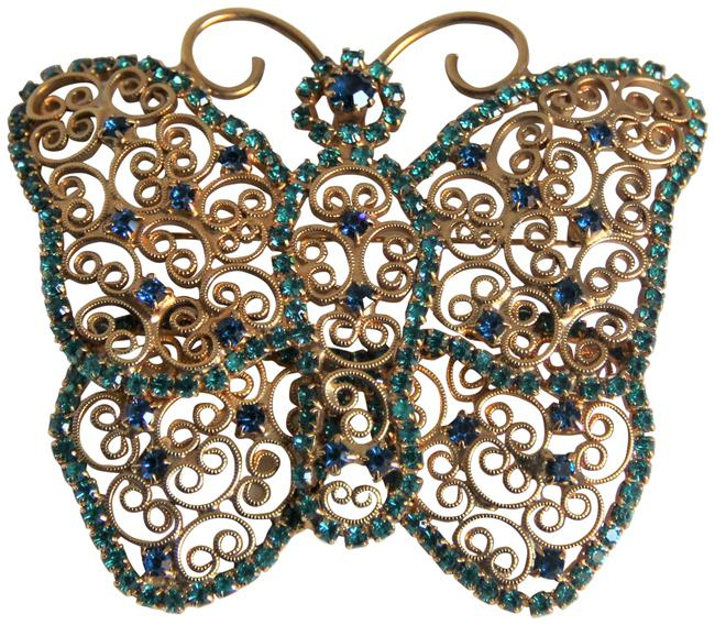 Item - Gold Green Czechoslovakian Plated Filigree Butterfly Brooch