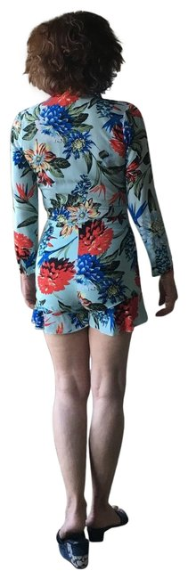 Item - Multi Blue Red Green Floral Romper Cover-up/Sarong Size 4 (S)
