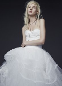 Vera Wang White/Ivory Silk/Tulle Pia Strapless Ball Gown Formal Wedding Dress Size 6 (S)