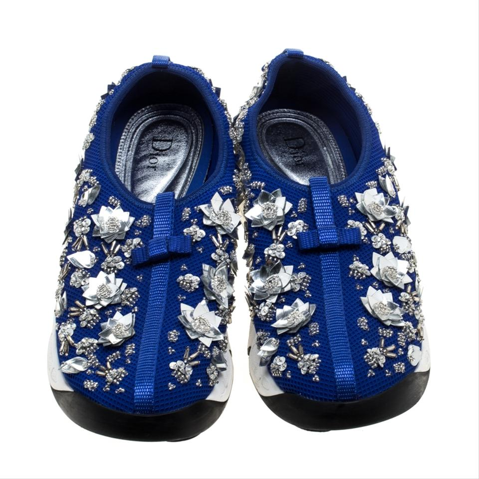 b22d5942 Dior Blue Mesh Fusion Floral Embellished Sneakers Flats Size EU 41 (Approx.  US 11) Regular (M, B) 19% off retail