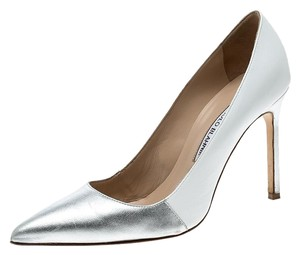 Manolo Blahnik Leather Two-tone Pointed Toe Silver Pumps