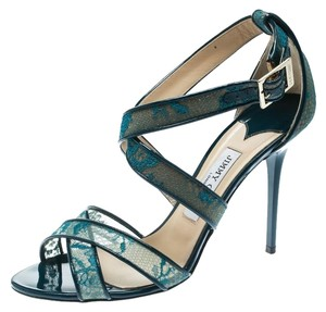 Jimmy Choo Lace Patent Leather Strappy Leather Blue Sandals