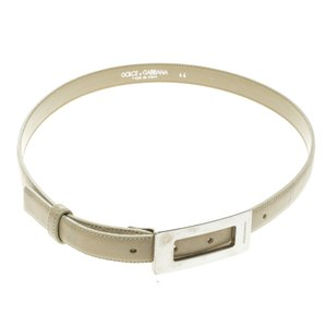 Dolce&Gabbana Beige Glazed Coated Canvas Rectangle Buckle Belt 80c