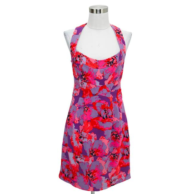 Item - Purple Pink N991 Designer Small Floral Short Casual Dress Size 4 (S)