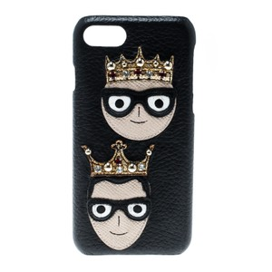 Dolce&Gabbana Black Leather Embellished Crown Face Patch iPhone 7