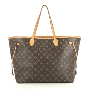 Louis Vuitton Neverfull Monogram Canvas Tote in brown