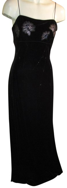 Item - Black By Shaw Beaded Velvet Spaghetti Strap Long Formal Dress Size Petite 4 (S)