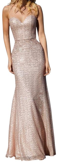 Item - Rose Gold Fitted Caviar Mesh Bridesmaids with Sweetheart Illusion Neckline Long Formal Dress Size 4 (S)